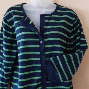 Navy and Kelly Striped Cardi